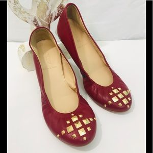 J Crew Red Studded Flats made n Italy. Leather EUC